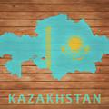 Kazakhstan Rustic Map On Wood by Dan Sproul