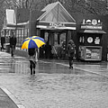 Kendall Square Rainy Day Cambridge Ma Blue And Yellow by Toby McGuire