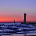 Kenosha Lighthouse Blue Waves by Dale Kauzlaric