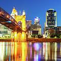 Kentucky View Of The Cincinnati Ohio Skyline - Panorama by Gregory Ballos