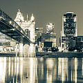 Kentucky View Of The Cincinnati Ohio Skyline - Sepia Panorama by Gregory Ballos