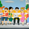 Kids At The Bus Stop by Winton Bochanowicz