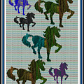 Kids Fun Gallery Horse Prancing Art Made Of Jungle Green Wild Colors by Navin Joshi