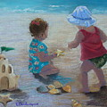 Kids Having A Shell Time In  Holmes Beach by Diane Larcheveque
