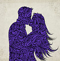Kissing Couple Silhouette Ultraviolet by Ricky Barnard