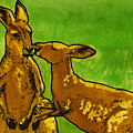 Kissing Kangaroos Print by Cherie Taylor
