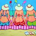Kite Flying 101 - Girlfriends On Beach by Rebecca Korpita
