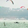 Kiteboarding In The San Francisco Bay by David Oppenheimer
