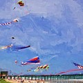 Kites At The Flagler Beach Pier by Alice Gipson