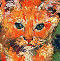 Kitten Orange Tabby Impressionist Oil Painting by Ginette Callaway