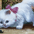 Kitten With Snail And Ball by English School