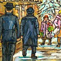 Klezmer Band Rialto Marquee Winter Scene The Jewish Street Park And Bernard Montreal Carole Spandau by Carole Spandau