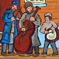Klezmer Band Three Musicians Street Performance Montreal Street Scene Jewish Art Carole Spandau      by Carole Spandau