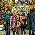 Klezmer Jazz Marquee Rialto Park Ave Winter Walk Girl In Pink Jacket Montreal  Art Carole Spandau  by Carole Spandau
