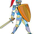 Knight Full Armor With Sword Defending Mosaic by Aloysius Patrimonio