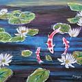 Koi In Lilly Pond by Manjiri Kanvinde