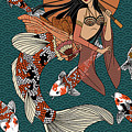 Koi Mermaid 2/4 by Rachel Ann Rabago