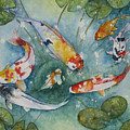 Koi  With Lilies by Gina Hall