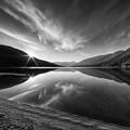 Kootenay Lake Sunrise Black And White by Mark Kiver