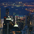 Kowloon Skyline And Victoria Harbour At Dusk by Sami Sarkis