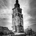 Krakow Town Tower Black And White by Sharon Popek