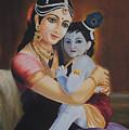 Krishna With Mother Yasoda by Sreekala Nambiar