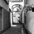 Kutna Hora Alley Black And White by Sharon Popek