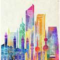 Kuwait City Landmarks Watercolor Poster by Pablo Romero