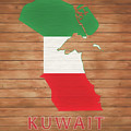 Kuwait Rustic Map On Wood by Dan Sproul