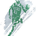 Kyrie Irving Boston Celtics Water Color Art 4 by Joe Hamilton