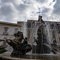 La Fontana Di Diana - Fountain Of Diana Silver Jets And Sky Drama by Georgia Mizuleva