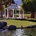La Quinta Park Lake And Gazebo by Linda Dunn