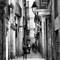 La Rambia Bw Street Gothic Quarter Narrow People  by Chuck Kuhn