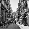 La Rambia Bw Streets  by Chuck Kuhn