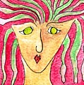 Lady In A Purple Shirt by Margie  Byrne
