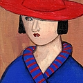 Lady In A Red Hat And Blue Coat by JoLynn Potocki