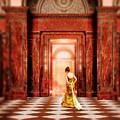 Lady In Golden Gown Walking Through Doorway by Jill Battaglia