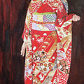 Lady In Red Kimono by Masami Iida