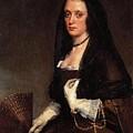 Lady With A Fan Diego Rodriguez De Silva Y Velazquez by Eloisa Mannion