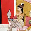 Lady With A Hawk by Guler School