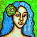 Lady With Green Flower by Brenda Higginson