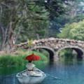 Lady With Parasol In Boat by Jill Battaglia