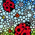 Ladybug Art - Joyous Ladies 2 - Sharon Cummings by Sharon Cummings