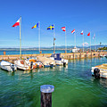 Lago Di Garda Harbor In Sirmione View by Brch Photography
