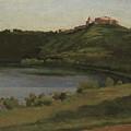 Lake Albano And Castel Gandolfo by Jean-Baptiste-Camille Corot