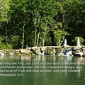 Lake At Cinco Ranch With Scripture by Dennis Stein