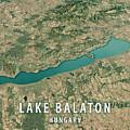 Lake Balaton 3d Render Satellite View Topographic Map Horizontal by Frank Ramspott