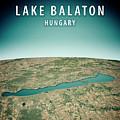 Lake Balaton 3d Render Satellite View Topographic Map Vertical by Frank Ramspott