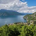 Lake Como Above Varenna Italy by Joan Carroll