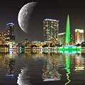 Lake Eola Moon by Carl Clay